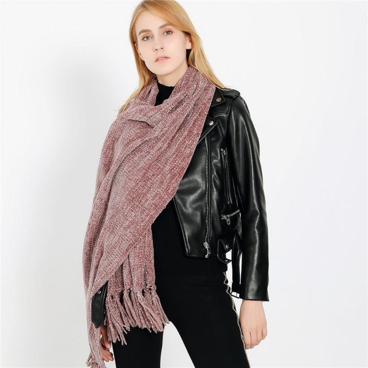 新款秋冬季熱賣歐美時尚街拍大牌雪尼爾柔軟舒適圍巾披肩一件代發