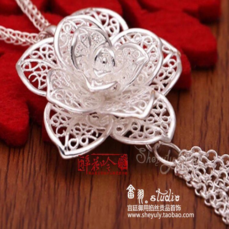 畲羽990纯银掐丝镂空玫瑰牡丹花吊坠项链民族文艺森女《醉花吟》