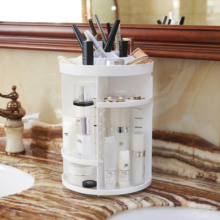 360度旋转化妆品收纳架 收纳盒首饰架桌面塑料多格整理盒护肤品架