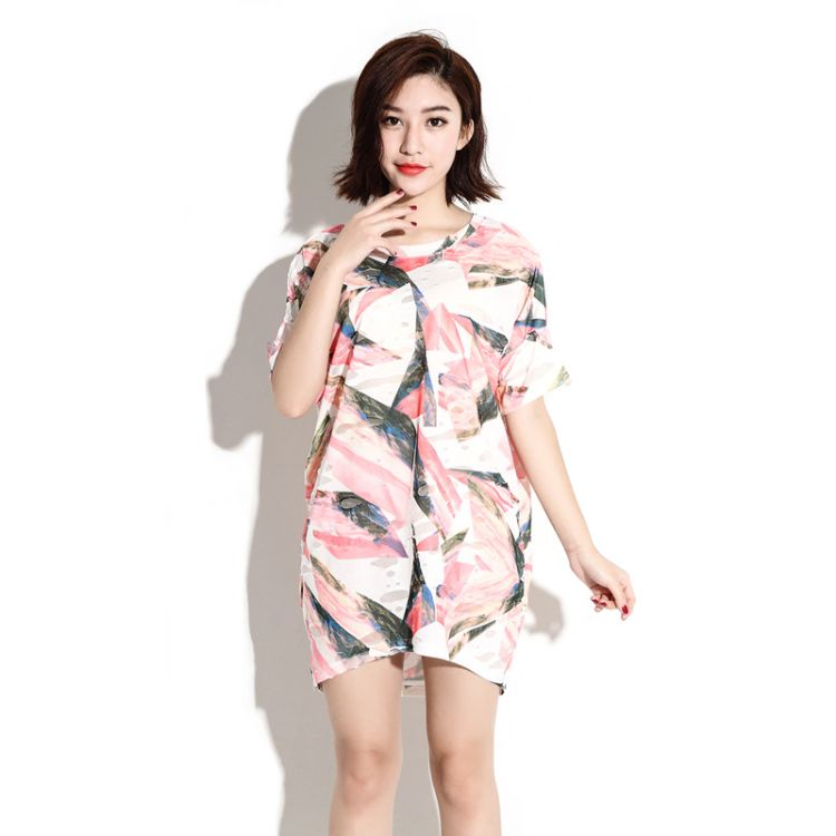 2018夏装女新款 工艺勾花镂空女式短袖T恤 胖MM大码女装一件代发