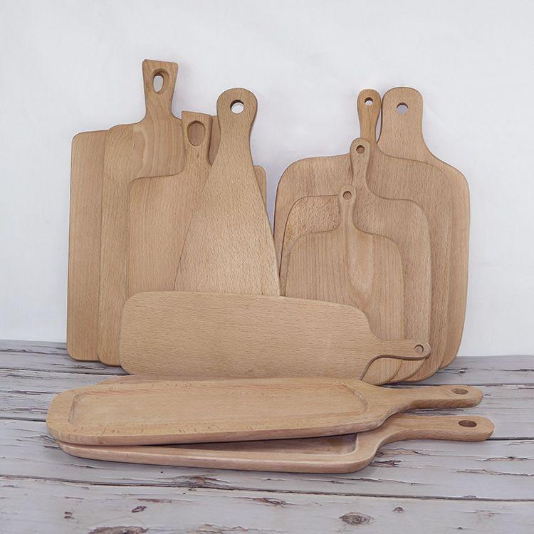 厂家直销榉木面包板 防裂实木无漆菜板 比萨盘 辅食水果盘
