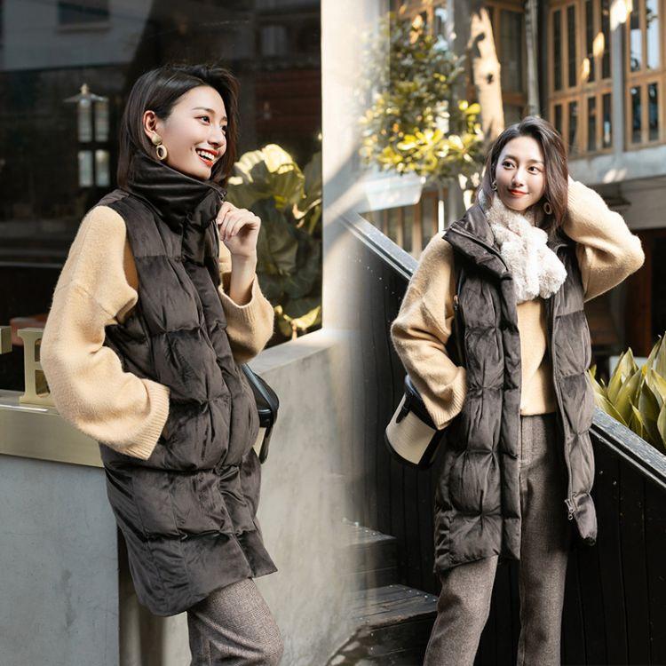 拉链中长款马甲2018年冬季时尚潮流舒适简约个性纯色休闲宽松