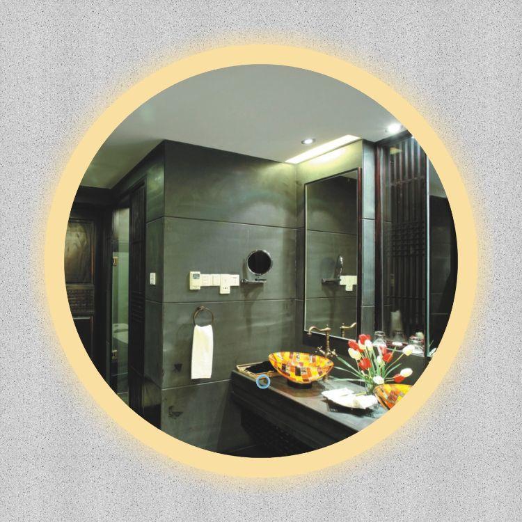 无边框智能LED卫浴镜灯现代欧式简约浴室灯圆形HL6001边框LED镜灯
