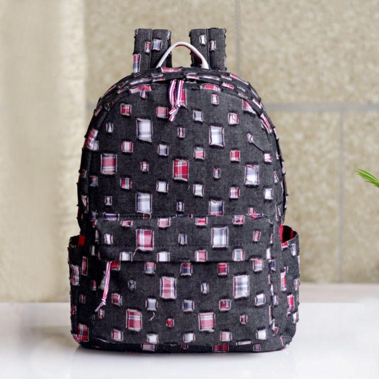 厂家直销批发日系牛仔棉环保面料休闲背包学生书包旅行双肩包