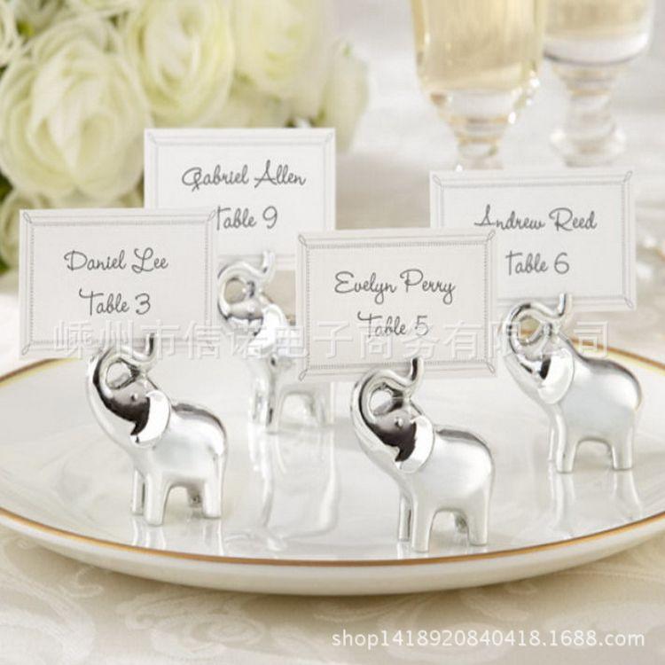 厂家直销银色树脂小象席位夹,大象卡片夹 外贸原单树脂留言夹