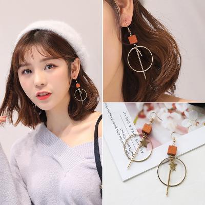 韩版夸张几何大圆圈五角星复古木质长款耳饰女简约时尚丽人