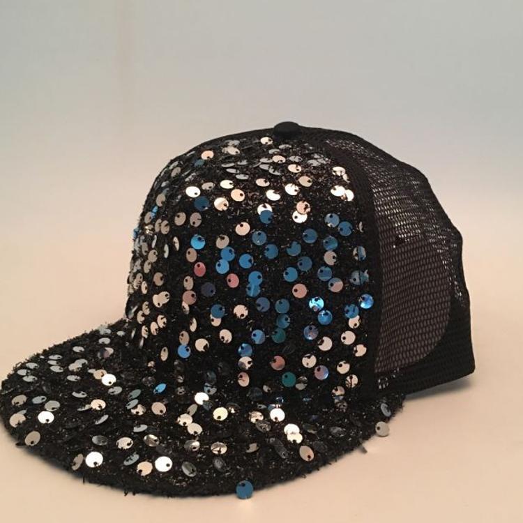 新款时尚潮人亮片平沿嘻哈网帽  街舞舞台表演创意棒球网帽鸭舌帽