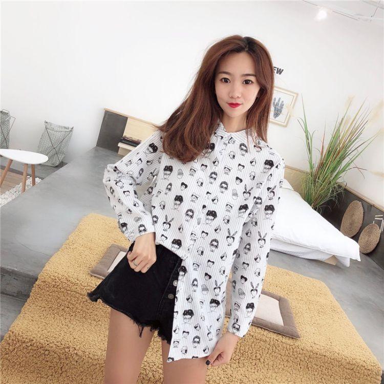 新款韩版秋季女装衬衫批发 热销棉麻个性百搭长袖女士衬衣秋