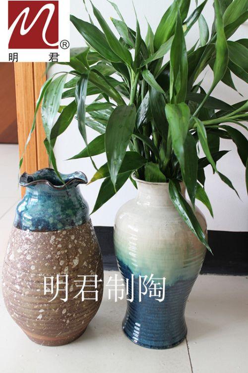 陶瓷陶艺花插 古陶艺术花瓶 手工拉胚粗陶花瓶摆件 水培花插花瓶