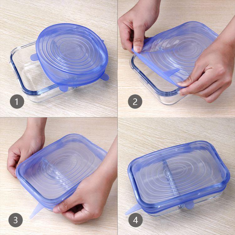 厂家直销硅胶保鲜盖 环保拉伸盖多功能食物密封碗杯盖6件套