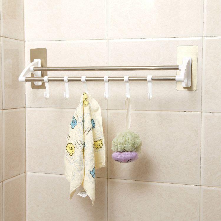 拉丝银不锈钢强力衣架无痕免钉双杆毛巾架 粘钩浴室毛巾杆批发