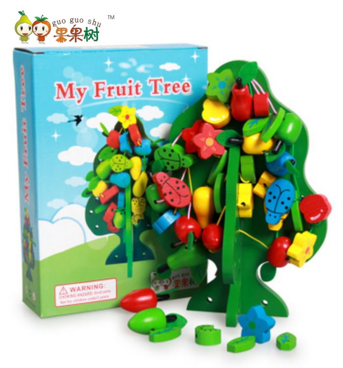 果果树儿童串珠玩具早教益智串串乐木制串串果树 穿插玩具智慧树
