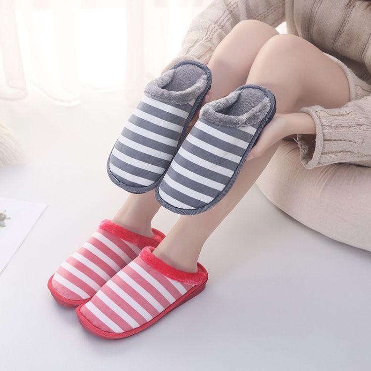 2018新款格子棉拖鞋家居拖鞋加厚保暖情侣防滑室内地板拖棉鞋潮