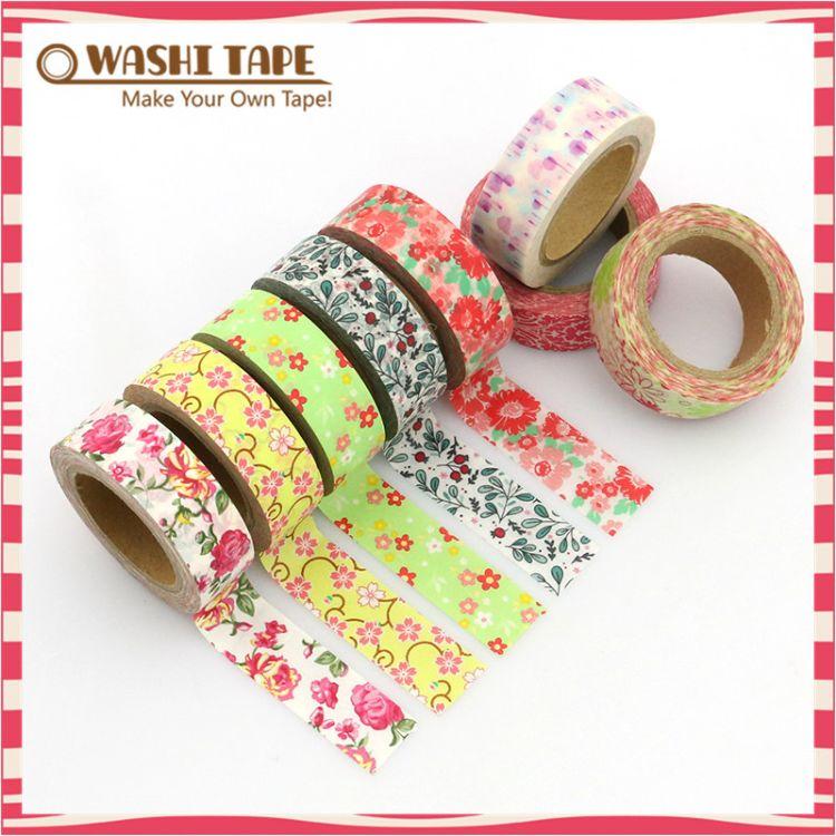Qcustom厂家直销 日本彩色花纹图案装饰手帐纸胶带 定制现货批发