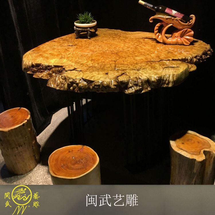闽武艺雕 天然实木黄金樟茶盘根雕原木茶托排水整套茶具纯树根黄金樟茶盘现货