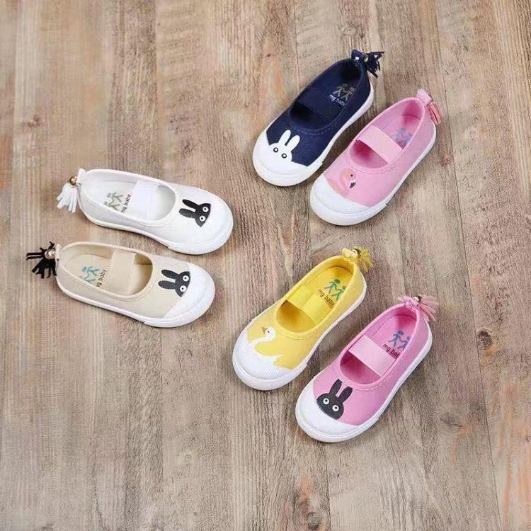 新品女童鞋 松紧带帆布鞋可爱卡通布鞋 韩版时尚男女童防滑外贸鞋