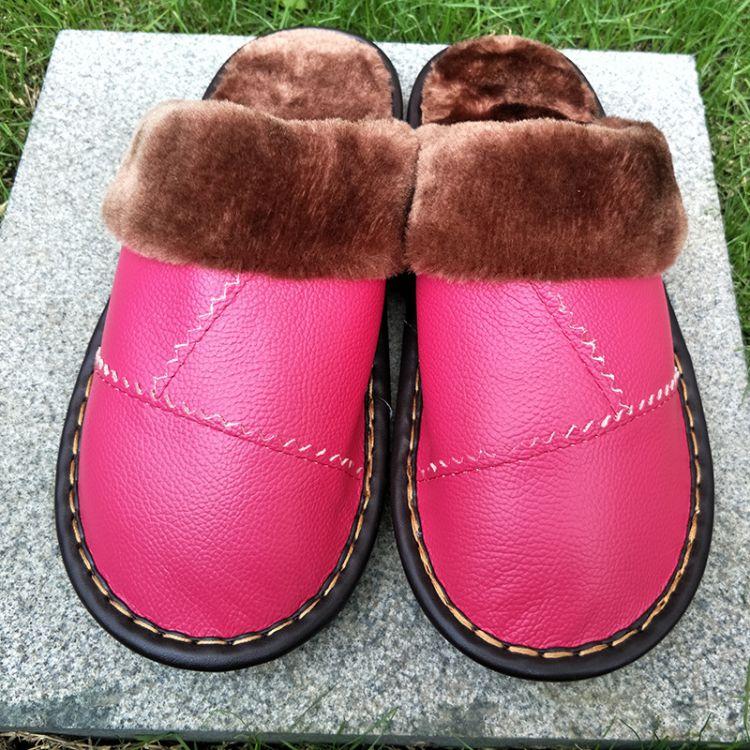 棉拖鞋女冬季海宁真皮头层牛皮包跟厚底防滑月子保暖居家毛棉鞋