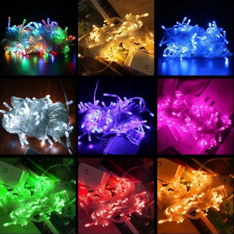 LED闪灯串灯串 带控制器户外防水装饰灯满天星霓虹圣诞灯小彩灯