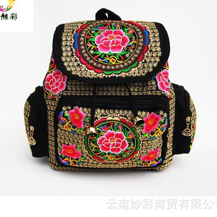 厂家直销民族包新款云南特色绣花包大容量三口袋双肩背包批发
