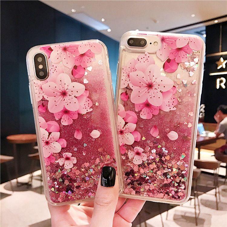 iPhoneX卡通火烈鸟流沙手机壳 6s桃花闪粉流沙tpu手机套 7plus壳