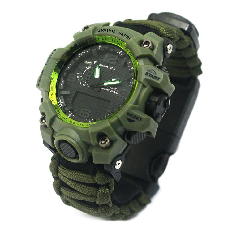 新款户外运动双机芯夜光手表 指南针登山野营防水多功能求生手表