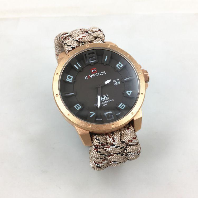 广东厂家可订做 野外求生七芯伞绳编织手表 编织手表带
