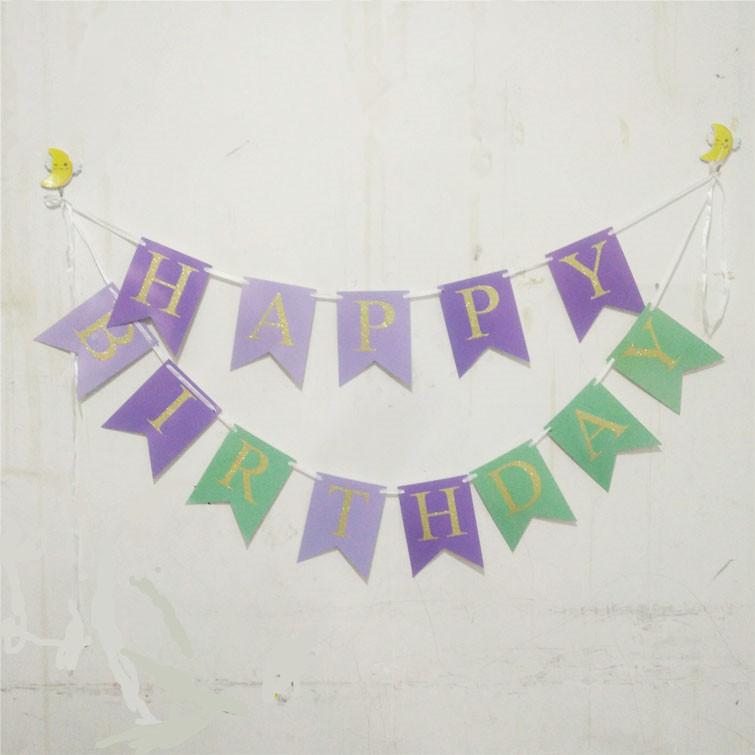 美人鱼拉花彩旗 美人鱼派对生日字母拉旗 儿童生日派对用品 装饰