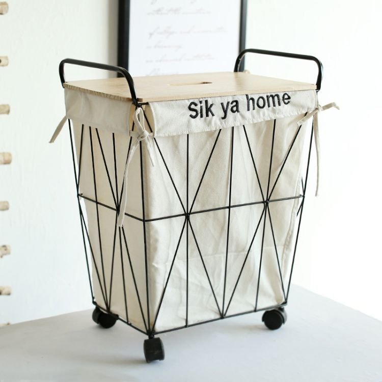 北欧风铁艺脏衣桶家居棉麻脏衣篮带轮收纳桶床头收纳桌脏衣篓