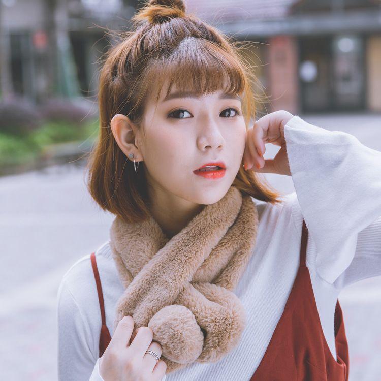新款韩国冬季仿皮草毛领子毛毛绒围巾女韩版仿獭兔围脖套头