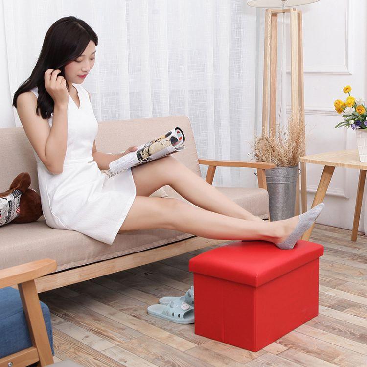 折叠收纳凳储物凳玩具收纳箱搁脚沙发凳小凳子换鞋凳一件代发