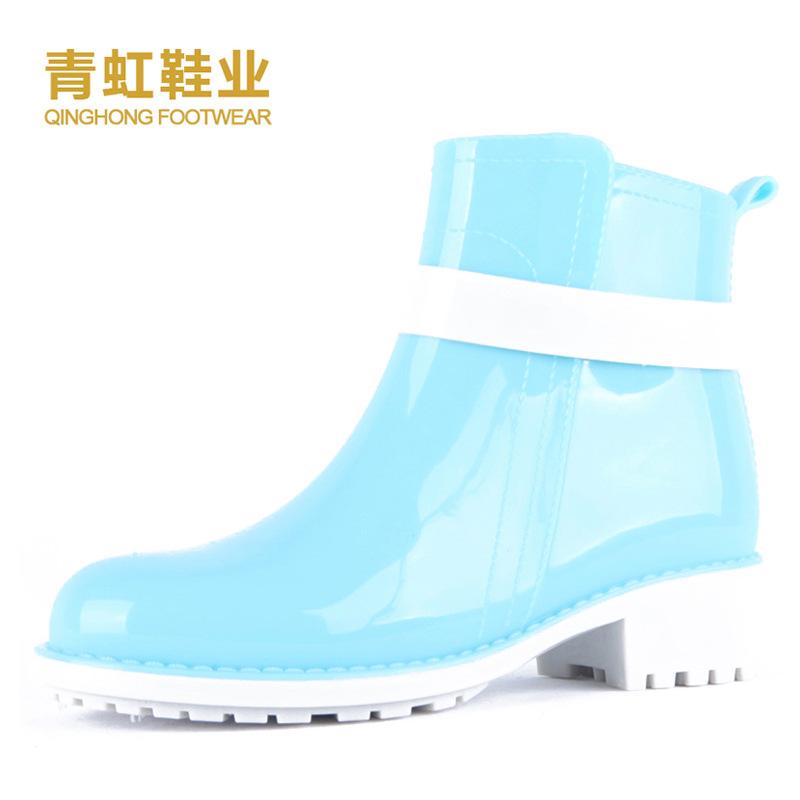 青虹鞋业 韩版雨鞋女 时尚短筒马丁雨靴 防滑纯色水靴胶鞋 雨鞋