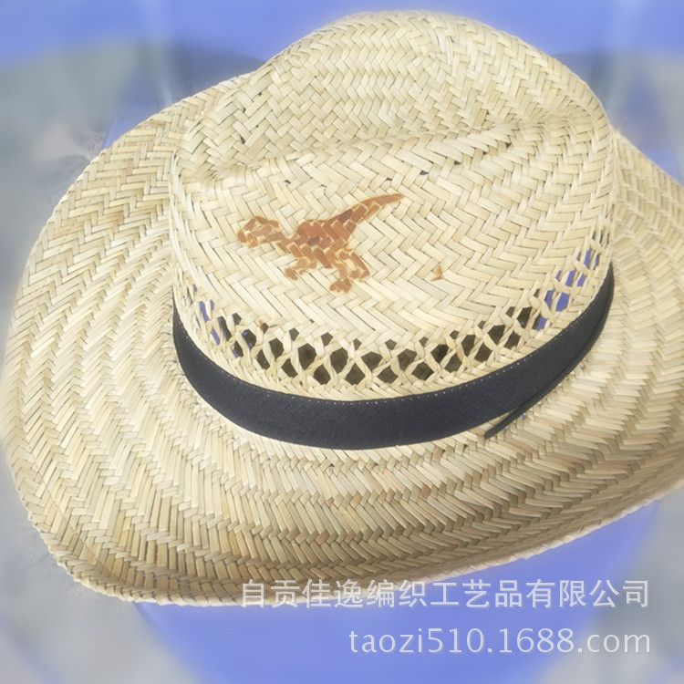 厂家直供四川自贡特产旅游产品黄市牌恐龙草帽牛仔帽遮阳帽