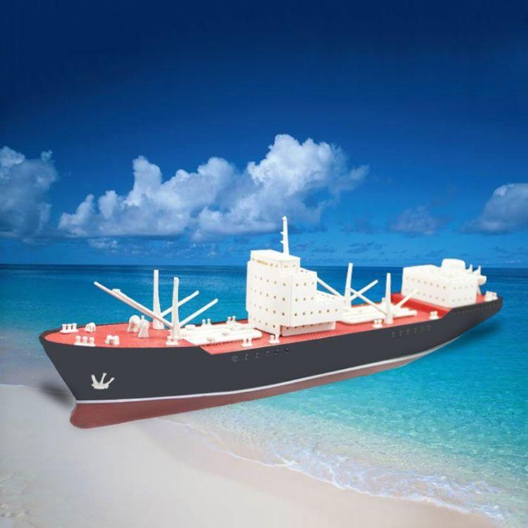 彩虹号电动万吨油轮 塑料拼装船模 科普教学器材DIY 益智礼物