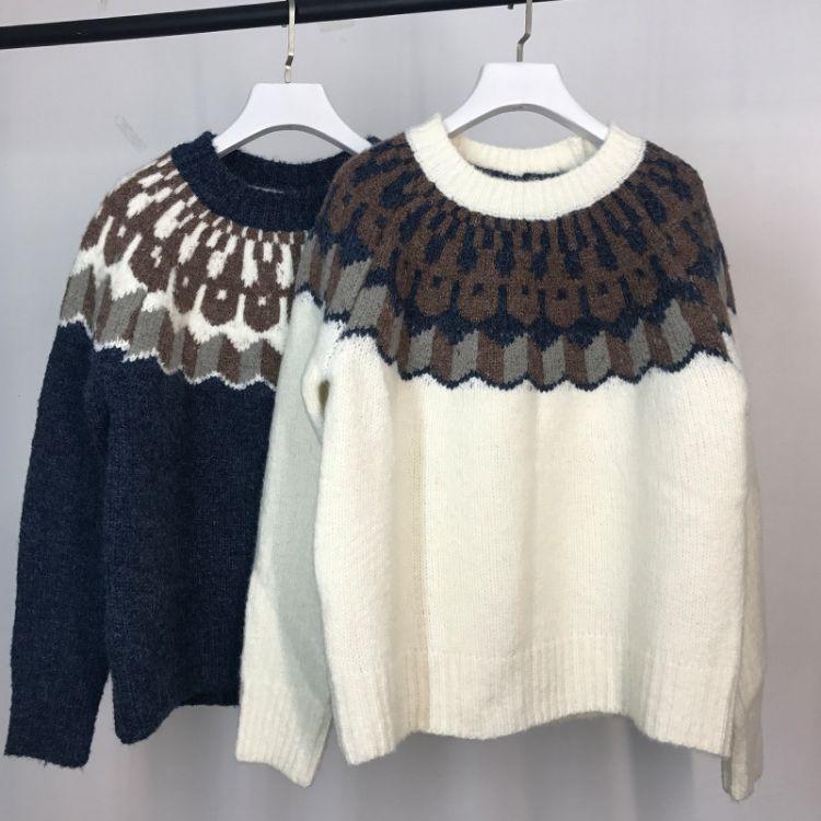 THESUMEY 秋冬韩国INS推荐复古元素图案设计圆领小宽松毛衣女上衣
