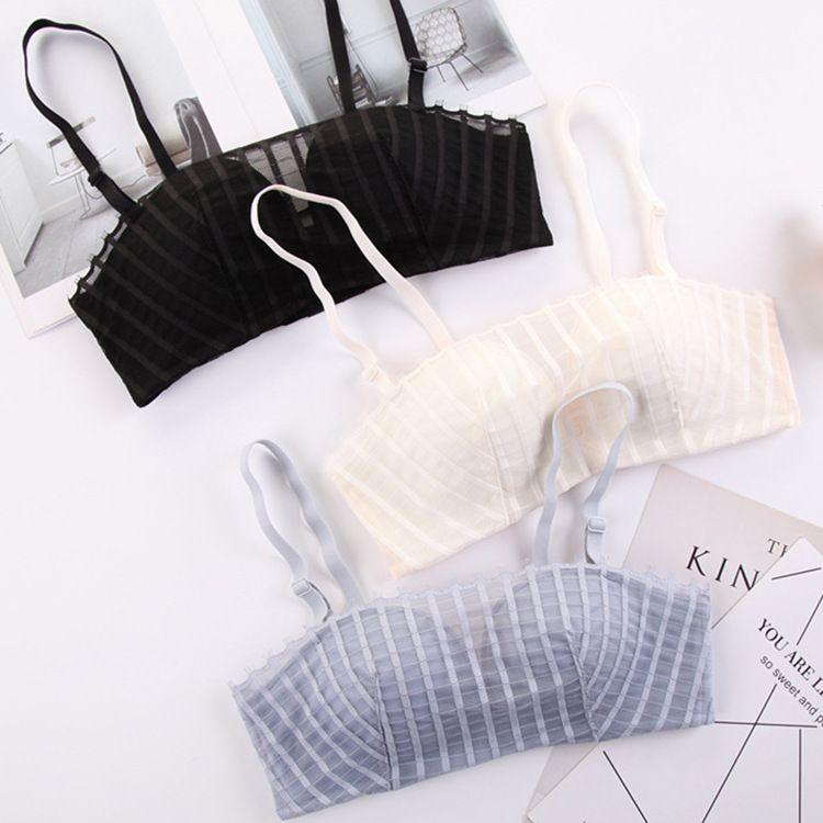 时尚条纹文胸 百褶网纱蕾丝性感抹胸内衣聚拢无钢圈胸罩厂家直销