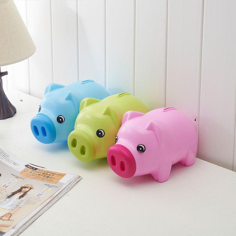 厂家新品塑料小猪零钱罐创意卡通礼品定制存钱罐logo