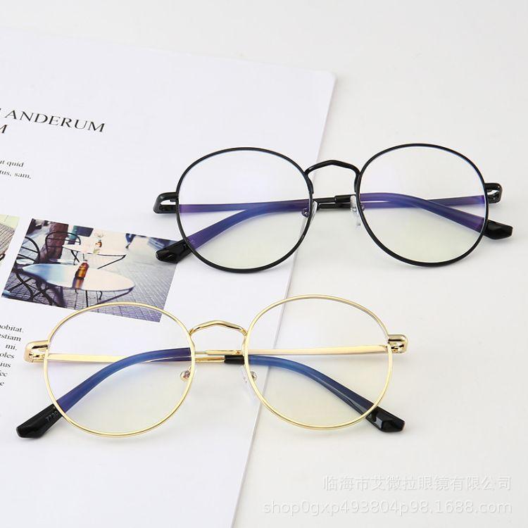 欧美新款圆形防蓝光眼镜网红同款手机电脑护目镜学生近视镜批发