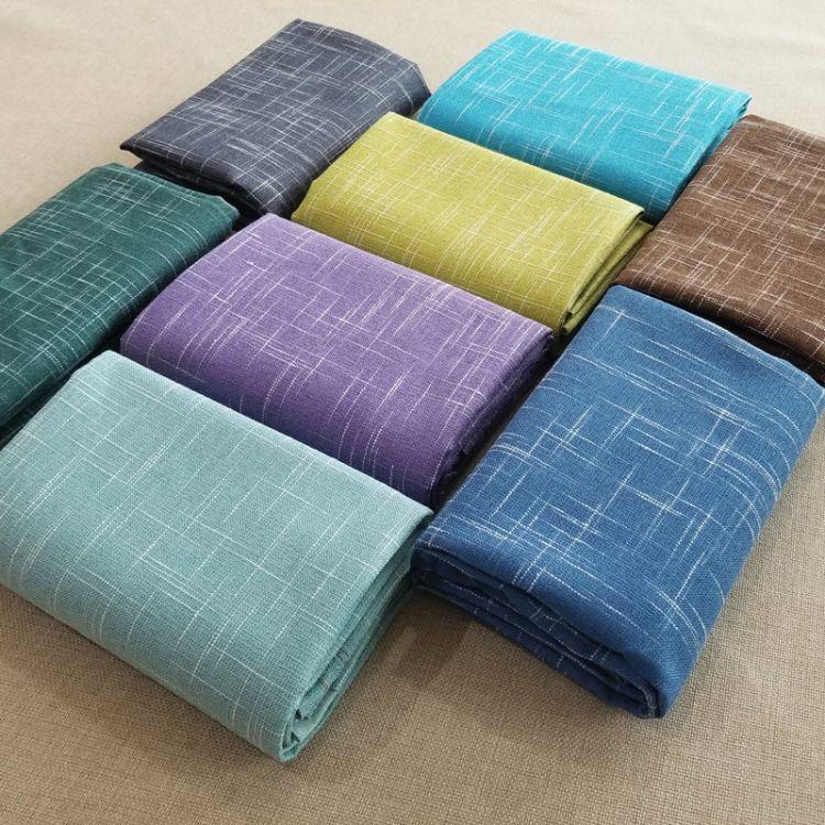高档纯色亚麻棉麻沙发布料素色十字纹竹节麻涤麻粗麻背景沙发套布