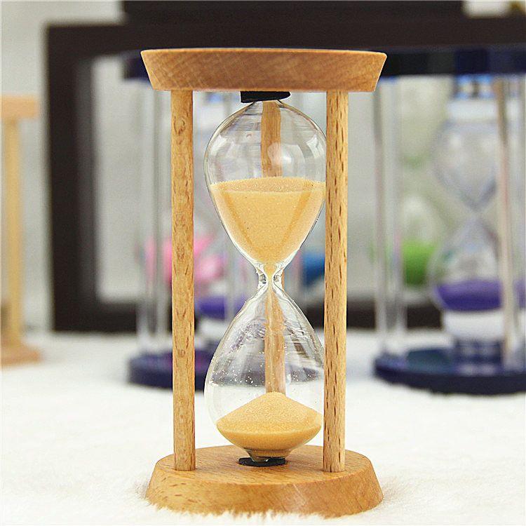 15/30分钟玻璃木质沙漏 创意木质时间沙漏计时器 家居工艺品摆件