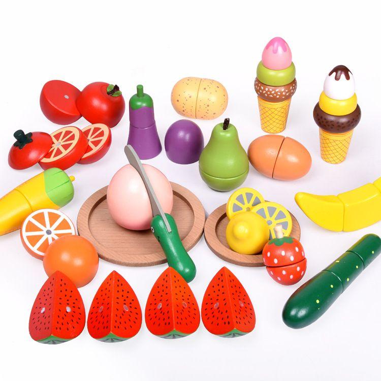 厂家直销 桶装磁性水果蔬菜冰淇淋认知切切看 儿童亲子过家家游戏