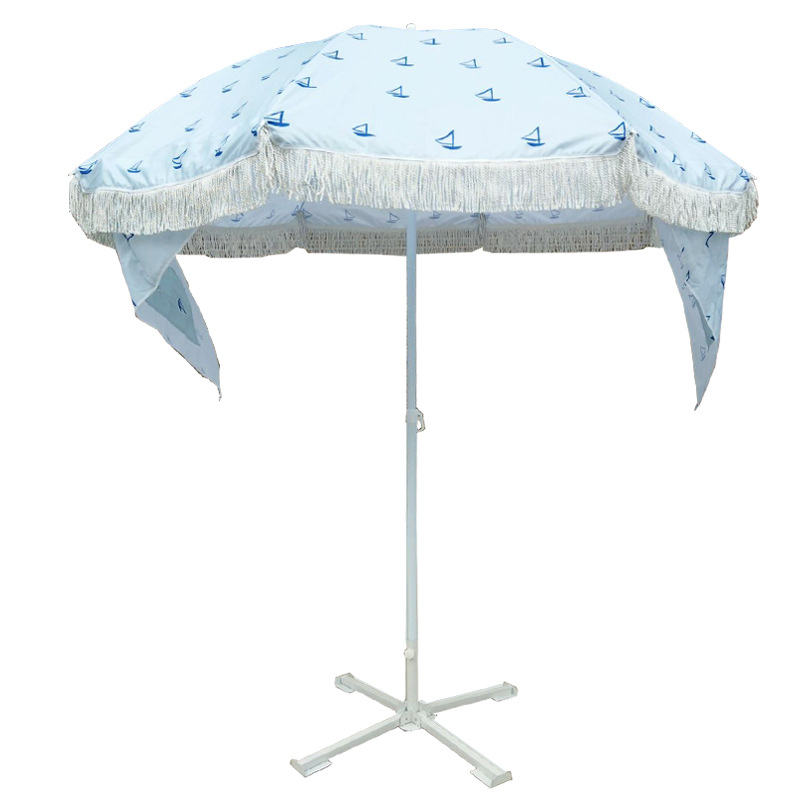 厂家直销 36-60寸野营户外遮阳伞 流苏边沙滩伞 数码印刷