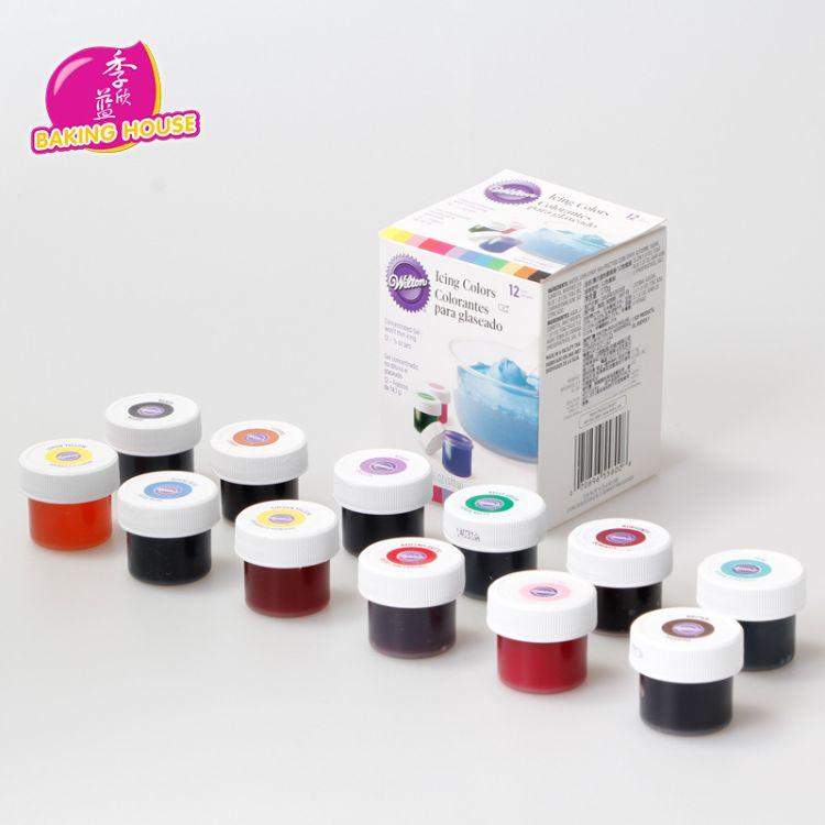 美国进口Wilton惠尔通 蛋糕翻糖奶油食用色素膏12色套装[502095]