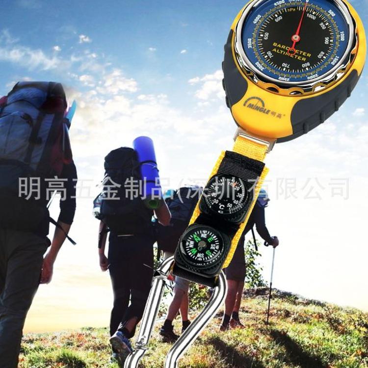 明高BKT381高度计气压计指南针温度计多功能户外登山机械式