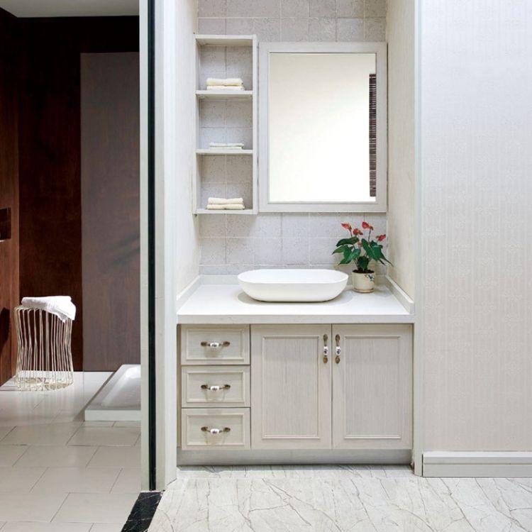 广东全铝浴室柜组合 浴室柜全铝家居铝材门板 现代全铝阳台柜洗衣柜台面定制