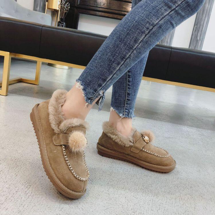 棉鞋女2018新款冬季百搭学生加绒平底短筒雪地靴女皮毛一体毛毛鞋