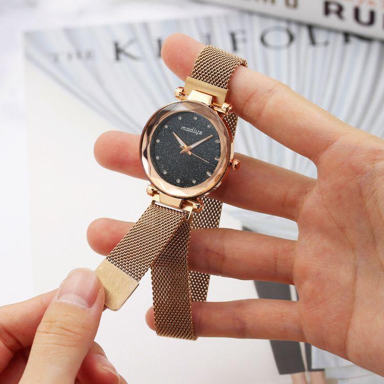 DXC镶钻米兰带星空手表女磁铁吸铁石石英表网红抖音同款手表定制