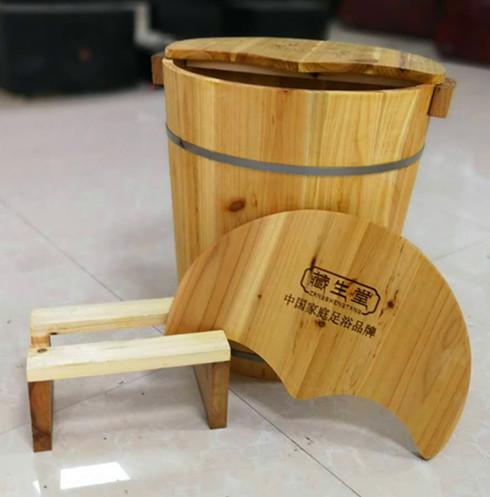 厂家直销40CM高杉木带熏蒸足浴实木盆藏生堂泡脚木桶批发