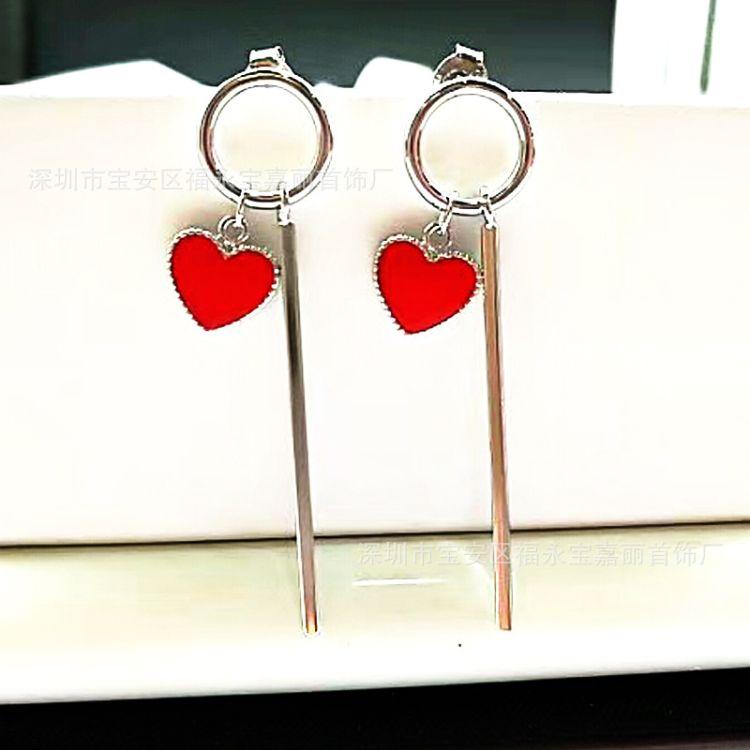 厂家直销纯银925爱心耳线 简约时尚心形滴胶耳环精工高端 一件代