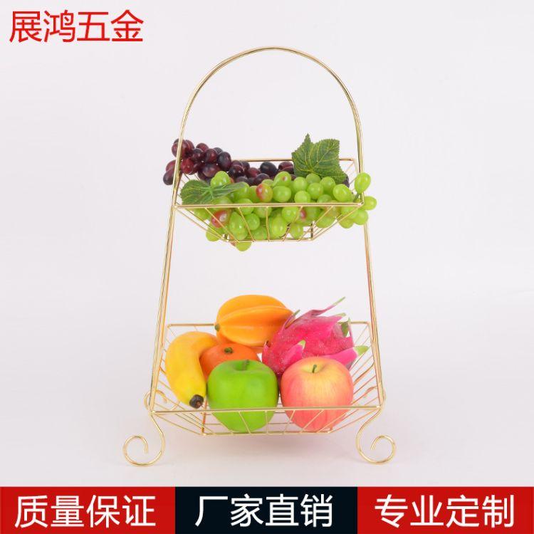 创意欧式铁艺水果篮多功能双层架客厅厨房水果蔬菜收纳果篮