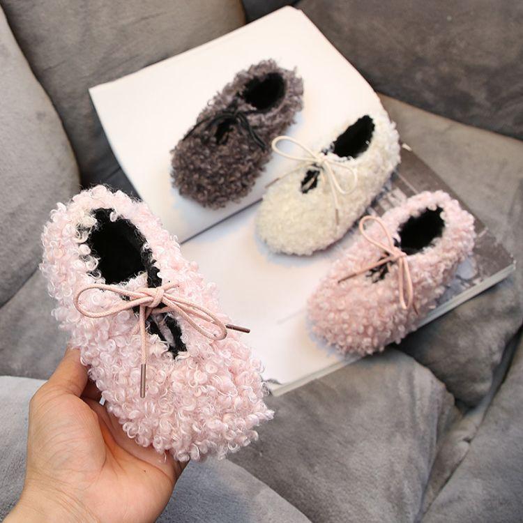 冬季新款小儿童保暖棉鞋韩版毛毛鞋潮女小童加绒软底套脚棉靴批发